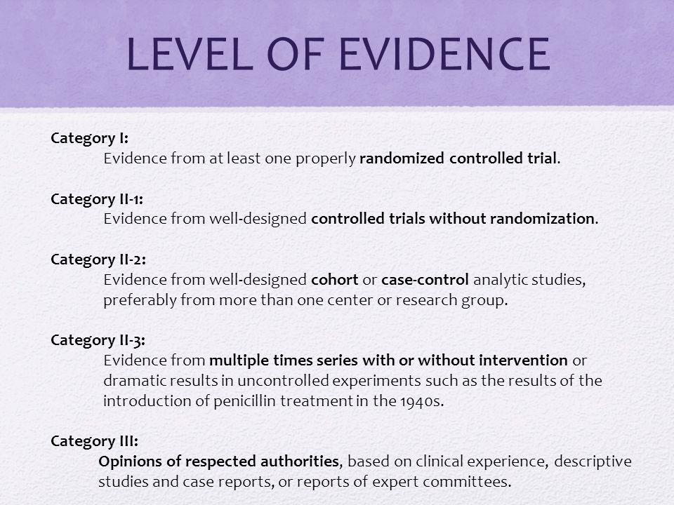 LEVEL OF EVIDENCE Category I:
