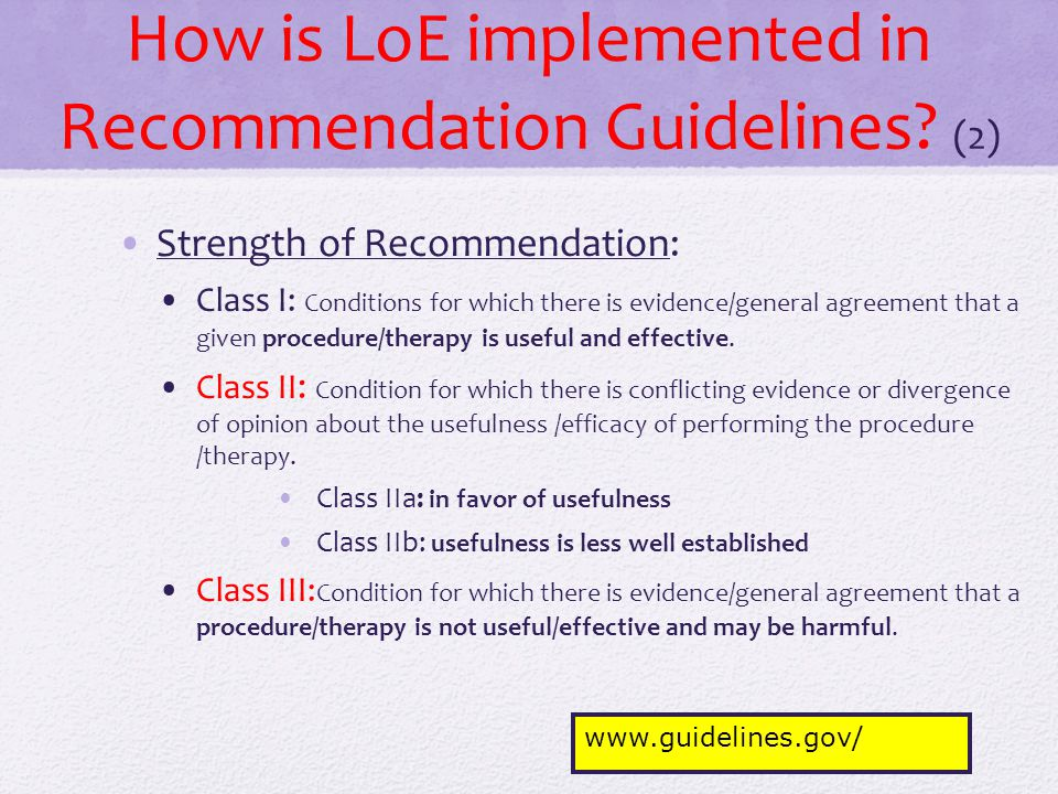How is LoE implemented in Recommendation Guidelines (2)