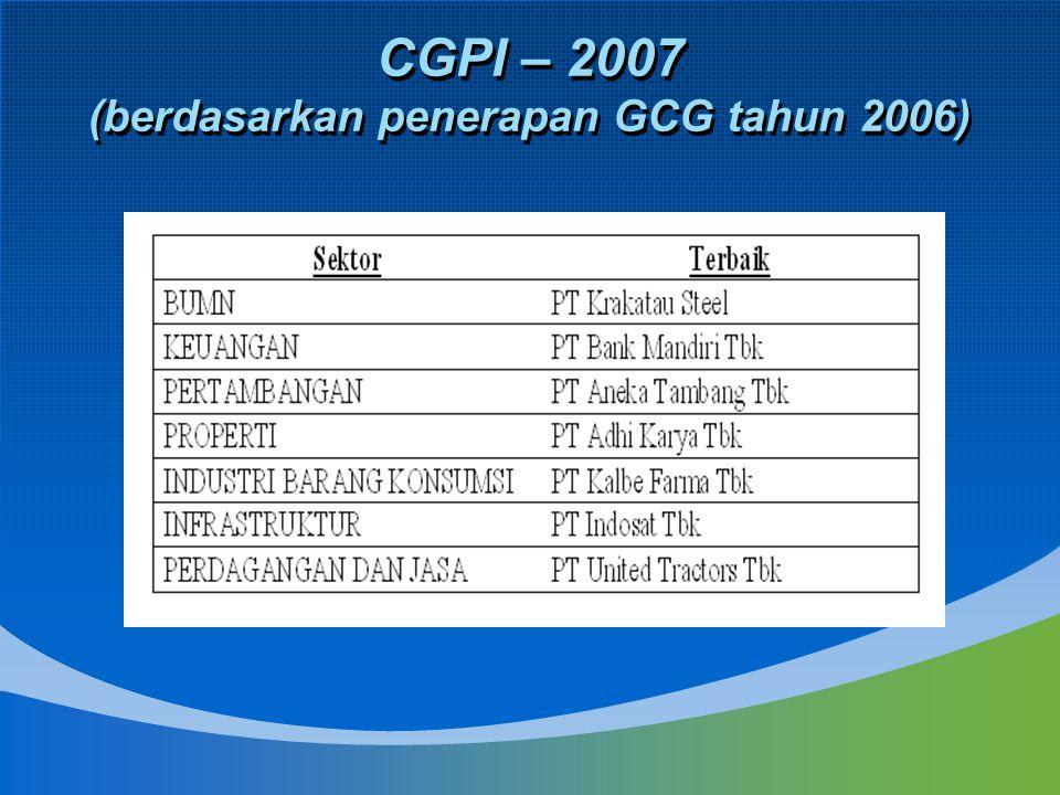 CGPI – 2007 (berdasarkan penerapan GCG tahun 2006)