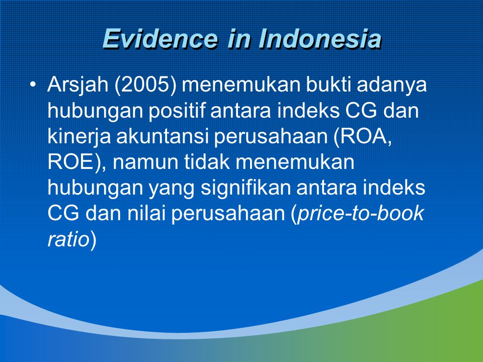 Evidence in Indonesia