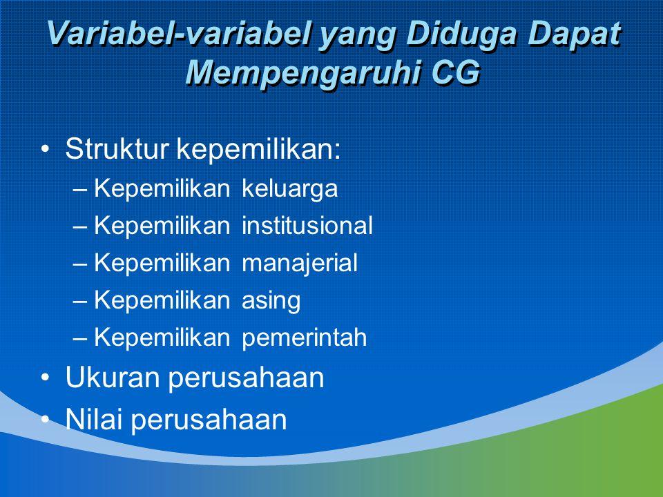 Variabel-variabel yang Diduga Dapat Mempengaruhi CG