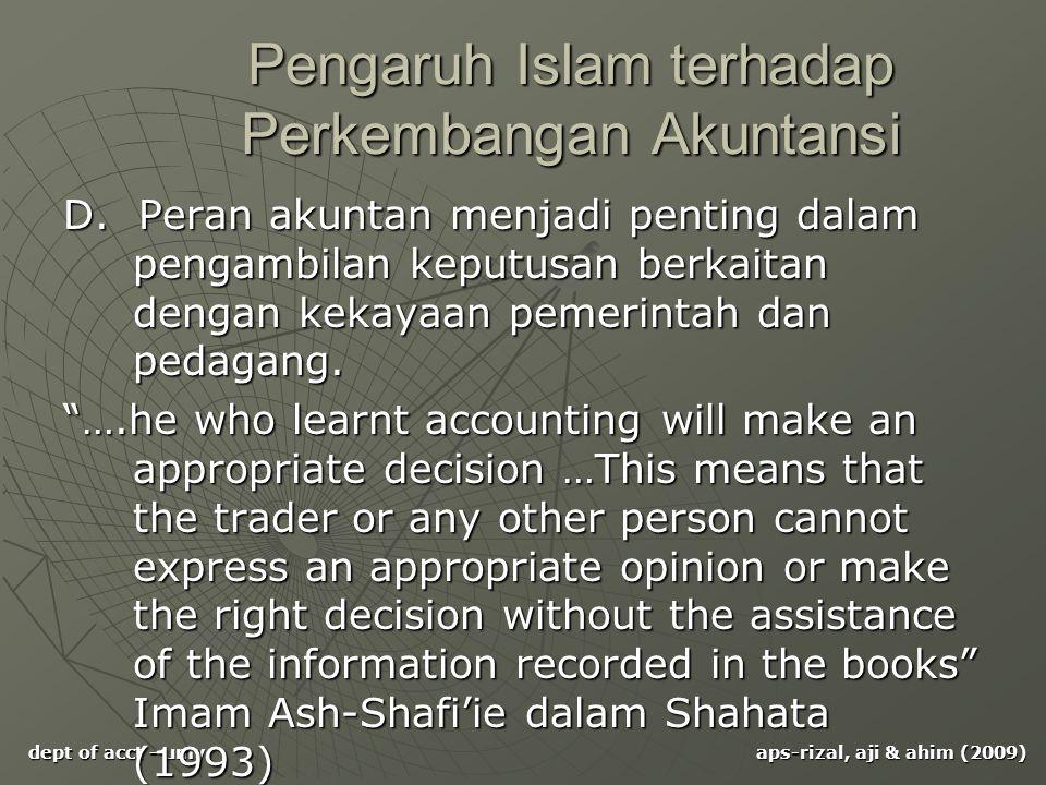 Pengaruh Islam terhadap Perkembangan Akuntansi