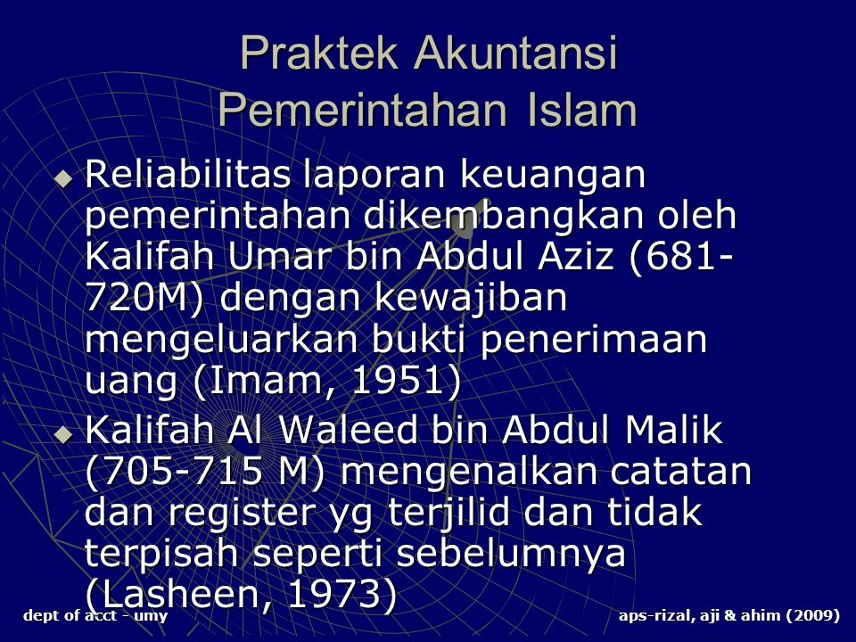 Praktek Akuntansi Pemerintahan Islam