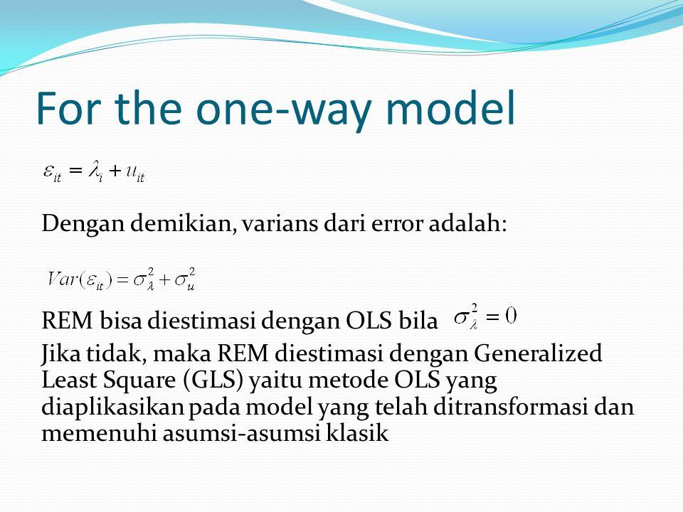 For the one-way model Dengan demikian, varians dari error adalah: