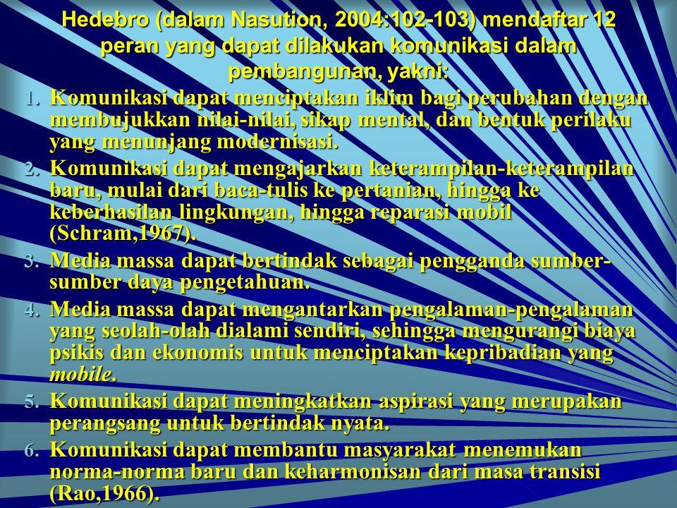 Hedebro (dalam Nasution, 2004:102-103) mendaftar 12 peran yang dapat dilakukan komunikasi dalam pembangunan, yakni: