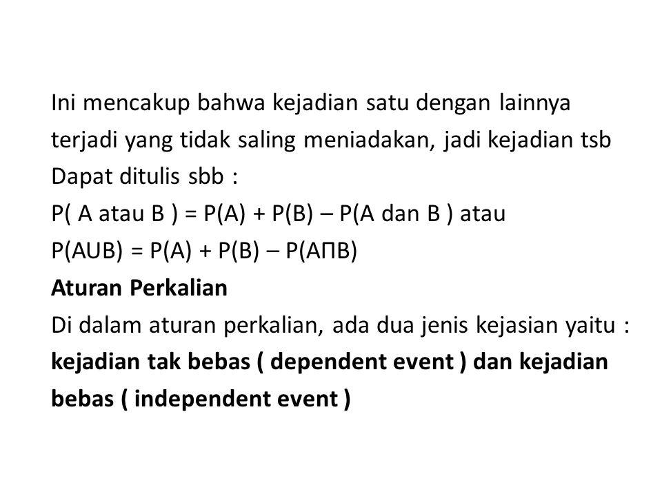 Ini mencakup bahwa kejadian satu dengan lainnya terjadi yang tidak saling meniadakan, jadi kejadian tsb Dapat ditulis sbb : P( A atau B ) = P(A) + P(B) – P(A dan B ) atau P(AUB) = P(A) + P(B) – P(AΠB) Aturan Perkalian Di dalam aturan perkalian, ada dua jenis kejasian yaitu : kejadian tak bebas ( dependent event ) dan kejadian bebas ( independent event )