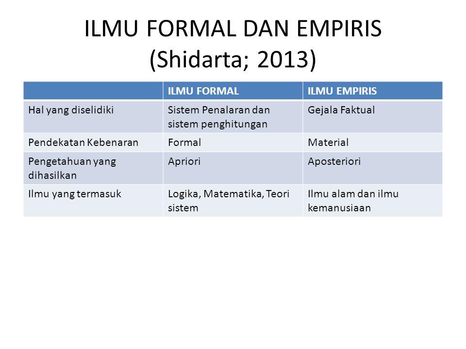 ILMU FORMAL DAN EMPIRIS (Shidarta; 2013)