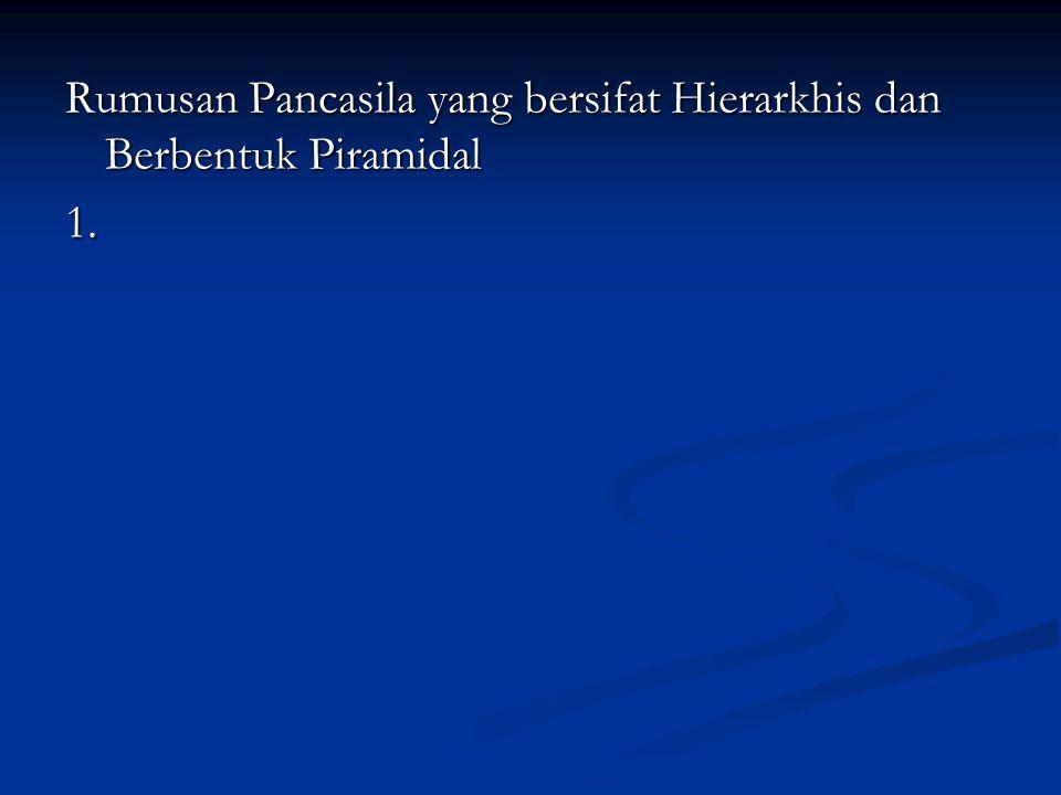 Rumusan Pancasila yang bersifat Hierarkhis dan Berbentuk Piramidal