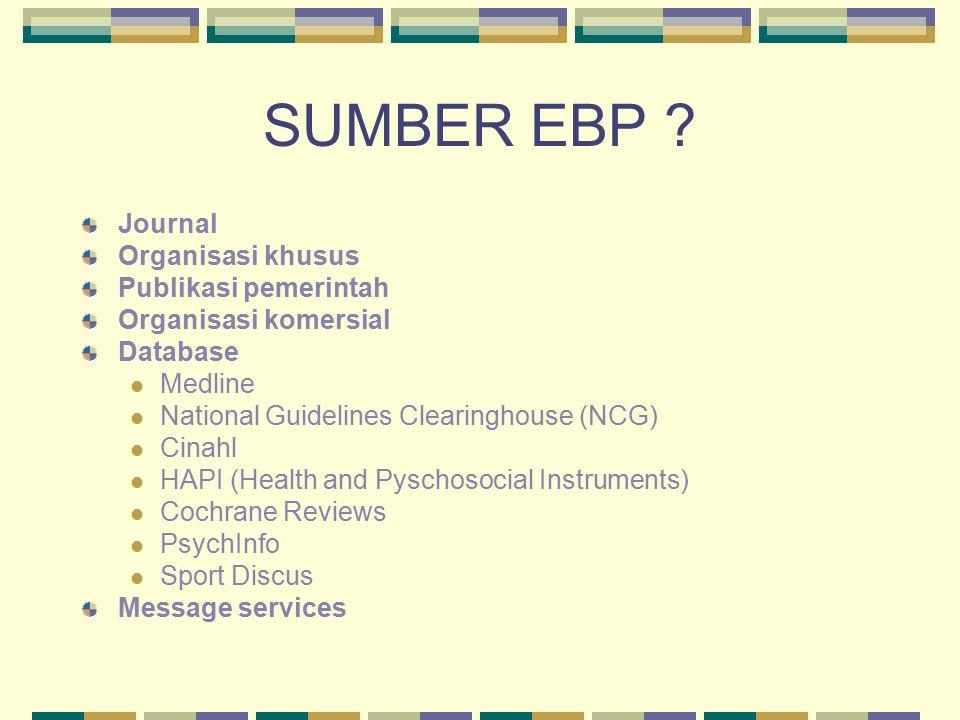 SUMBER EBP Journal Organisasi khusus Publikasi pemerintah