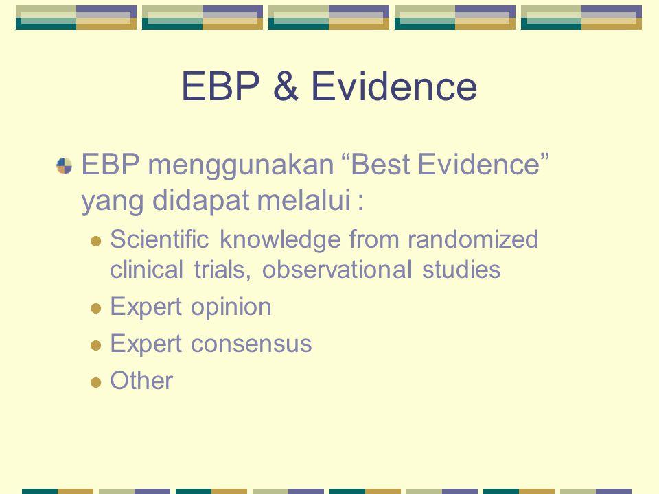 EBP & Evidence EBP menggunakan Best Evidence yang didapat melalui :