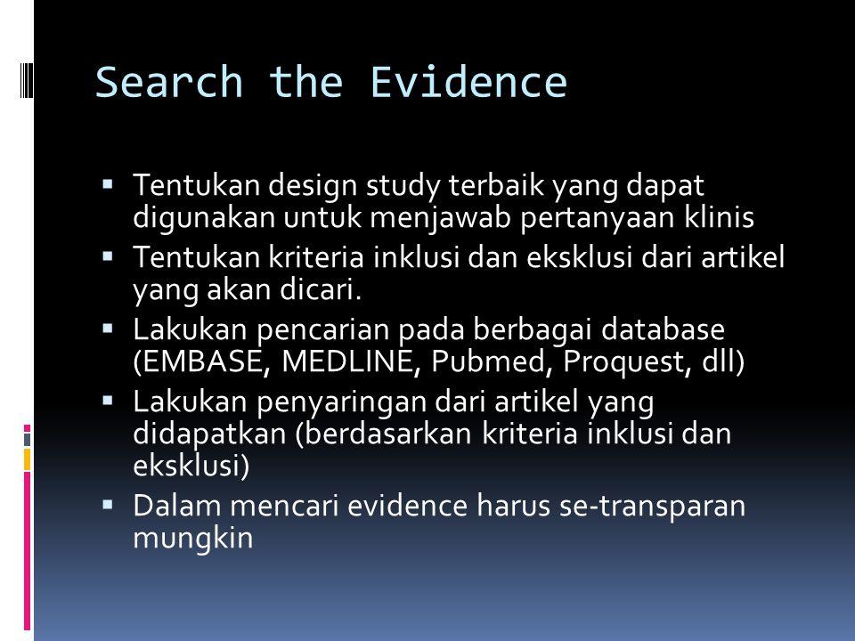 Search the Evidence Tentukan design study terbaik yang dapat digunakan untuk menjawab pertanyaan klinis.
