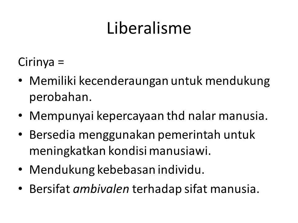 Liberalisme Cirinya = Memiliki kecenderaungan untuk mendukung perobahan. Mempunyai kepercayaan thd nalar manusia.