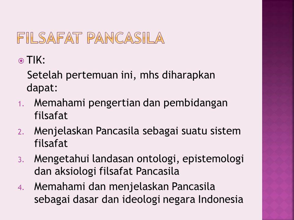 Filsafat Pancasila TIK: Setelah pertemuan ini, mhs diharapkan dapat: