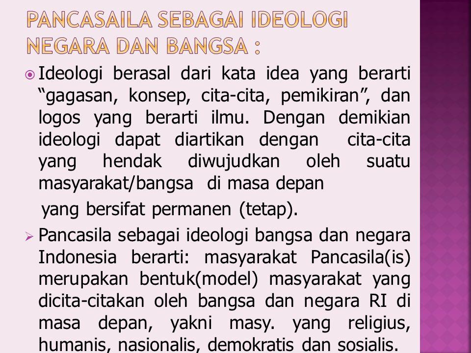 Pancasaila sebagai ideologi negara dan bangsa :