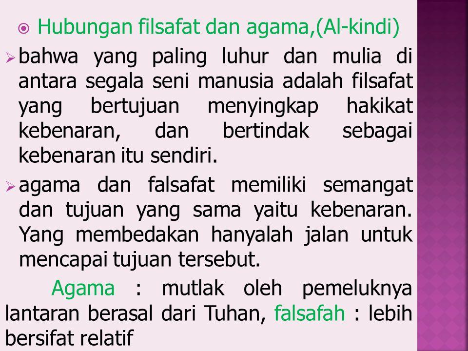 Hubungan filsafat dan agama,(Al-kindi)