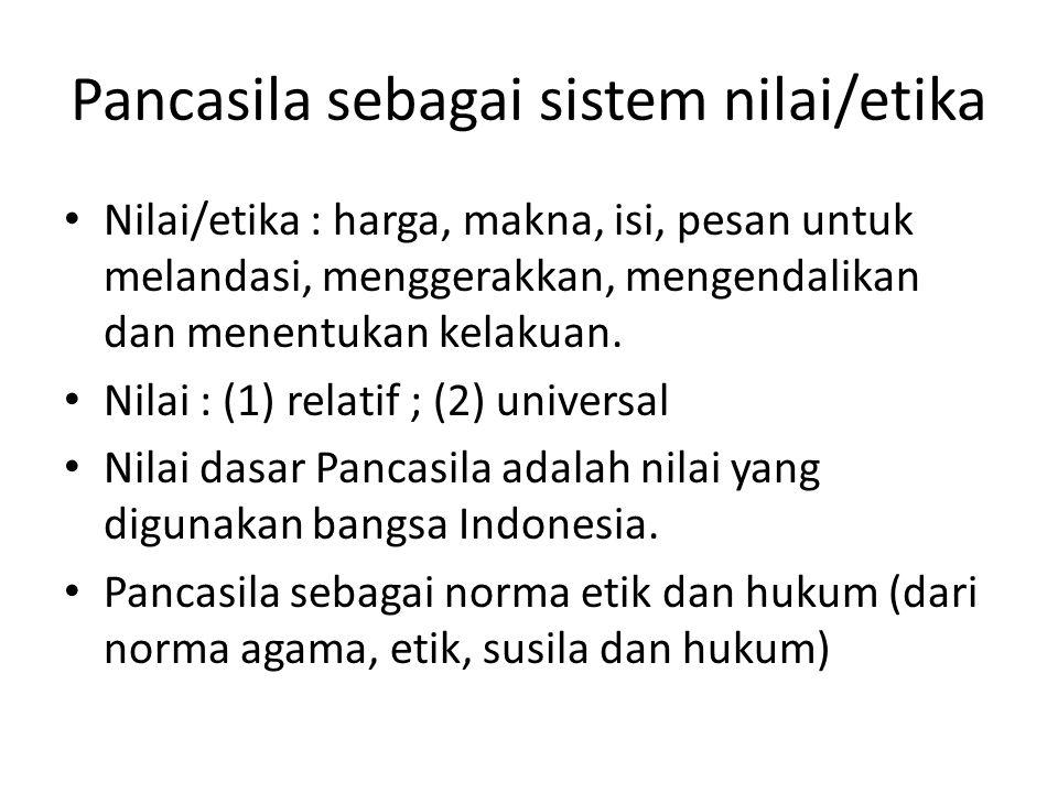 Pancasila sebagai sistem nilai/etika