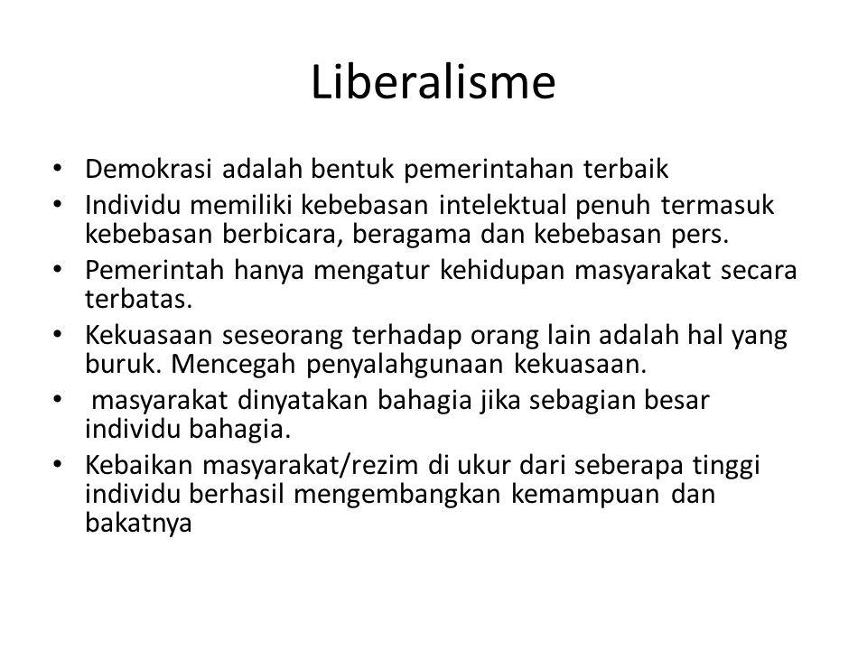 Liberalisme Demokrasi adalah bentuk pemerintahan terbaik