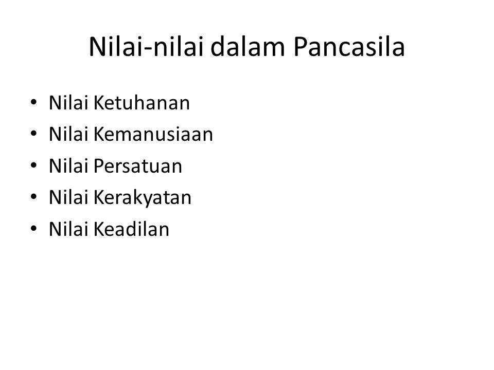 Nilai-nilai dalam Pancasila