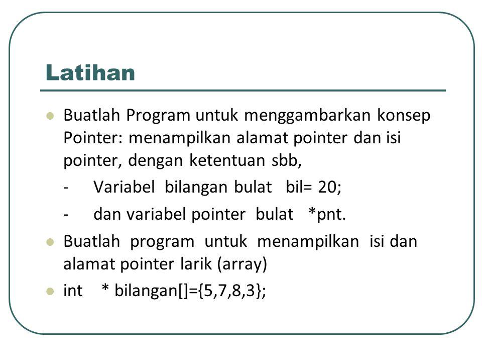 Latihan Buatlah Program untuk menggambarkan konsep Pointer: menampilkan alamat pointer dan isi pointer, dengan ketentuan sbb,