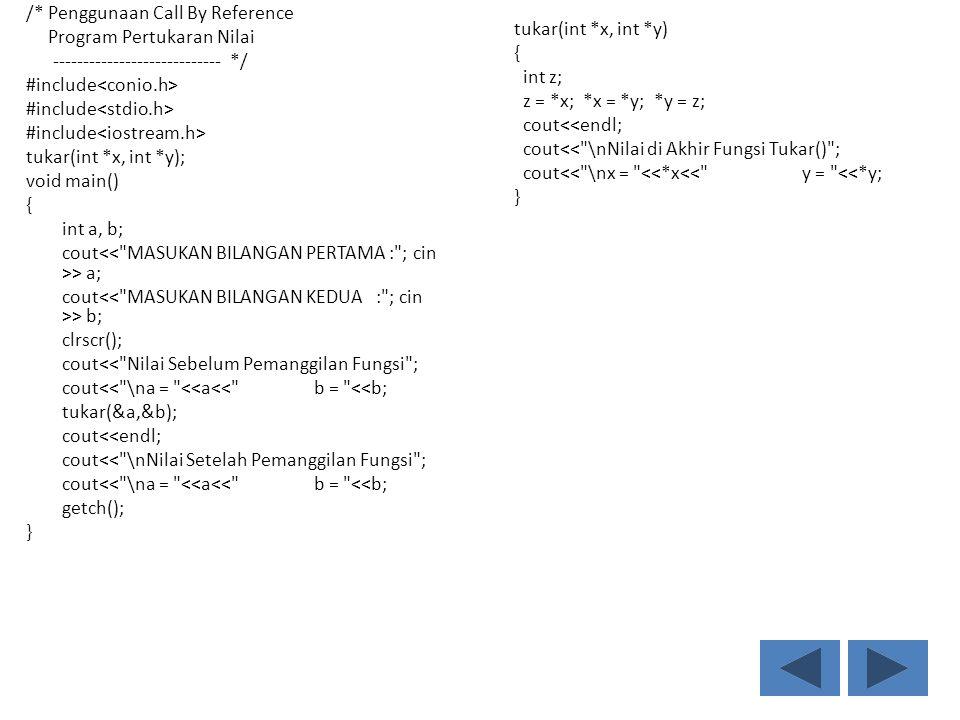 /* Penggunaan Call By Reference Program Pertukaran Nilai ---------------------------- */ #include<conio.h> #include<stdio.h> #include<iostream.h> tukar(int *x, int *y); void main() { int a, b; cout<< MASUKAN BILANGAN PERTAMA : ; cin >> a; cout<< MASUKAN BILANGAN KEDUA : ; cin >> b; clrscr(); cout<< Nilai Sebelum Pemanggilan Fungsi ; cout<< \na = <<a<< b = <<b; tukar(&a,&b); cout<<endl; cout<< \nNilai Setelah Pemanggilan Fungsi ; getch(); }