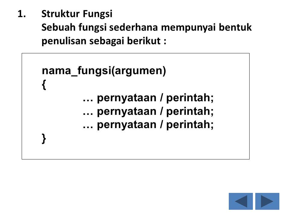 Struktur Fungsi Sebuah fungsi sederhana mempunyai bentuk penulisan sebagai berikut :