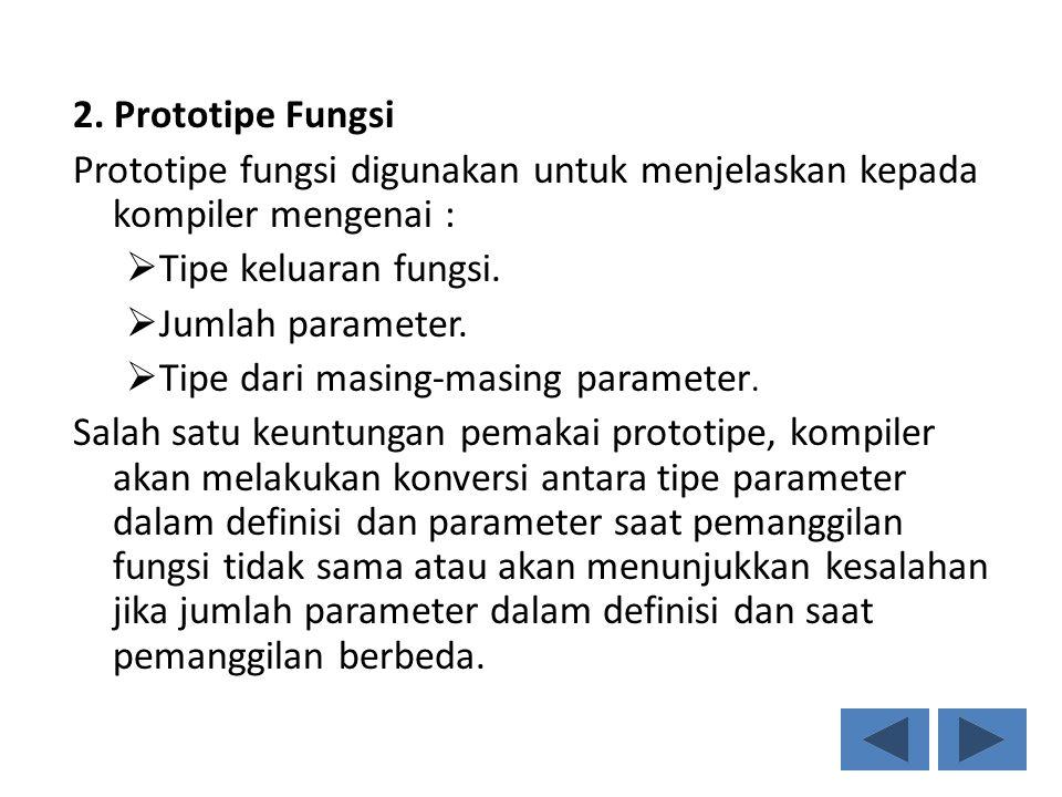2. Prototipe Fungsi Prototipe fungsi digunakan untuk menjelaskan kepada kompiler mengenai : Tipe keluaran fungsi.