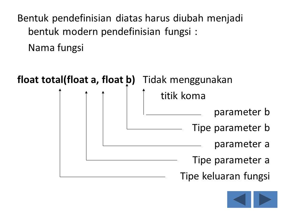 Bentuk pendefinisian diatas harus diubah menjadi bentuk modern pendefinisian fungsi : Nama fungsi float total(float a, float b) Tidak menggunakan titik koma parameter b Tipe parameter b parameter a Tipe parameter a Tipe keluaran fungsi