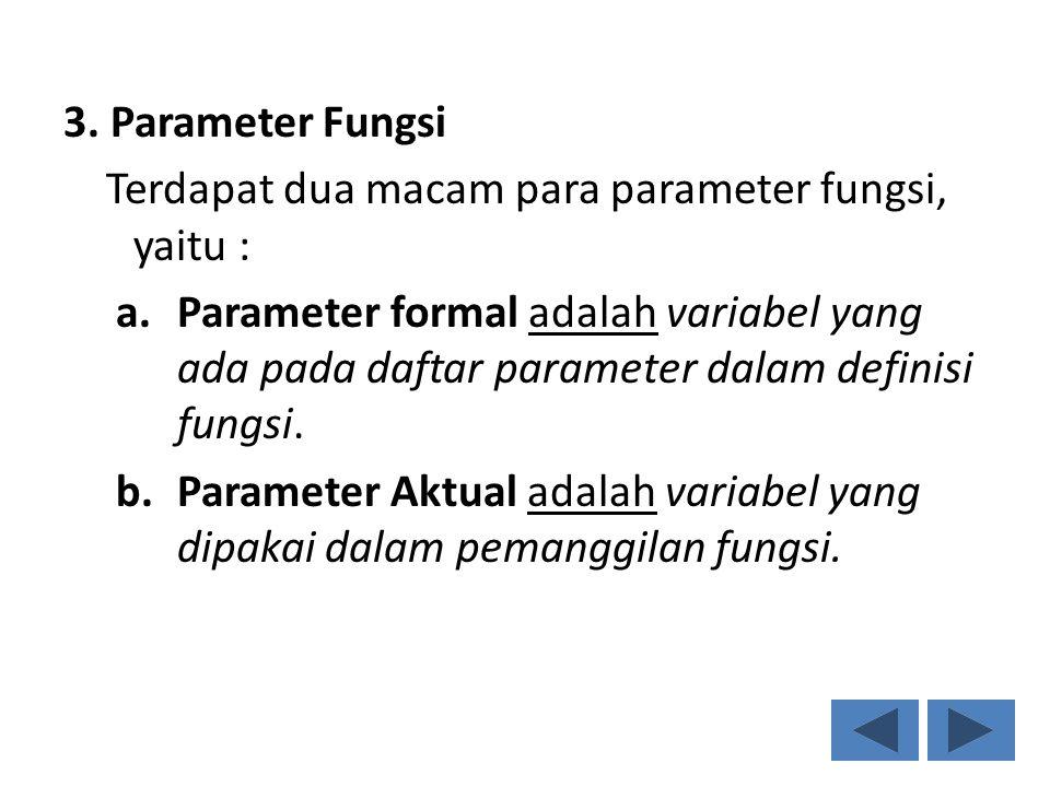 3. Parameter Fungsi Terdapat dua macam para parameter fungsi, yaitu :