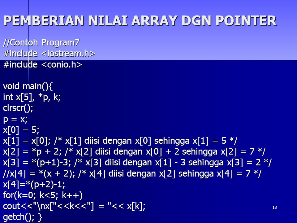 PEMBERIAN NILAI ARRAY DGN POINTER