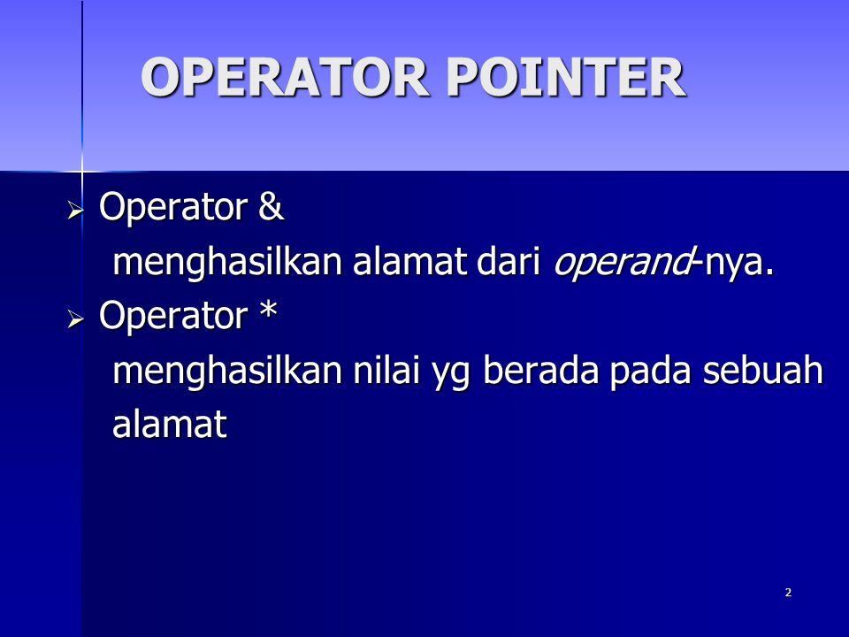 OPERATOR POINTER Operator & menghasilkan alamat dari operand-nya.