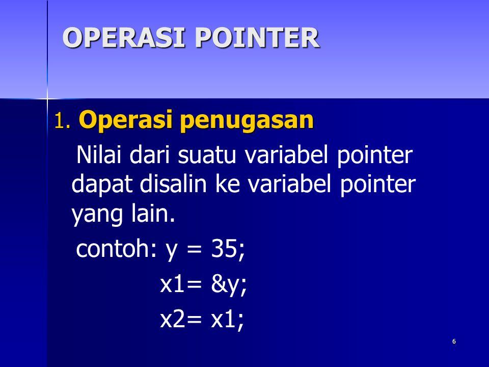 OPERASI POINTER 1. Operasi penugasan. Nilai dari suatu variabel pointer dapat disalin ke variabel pointer yang lain.