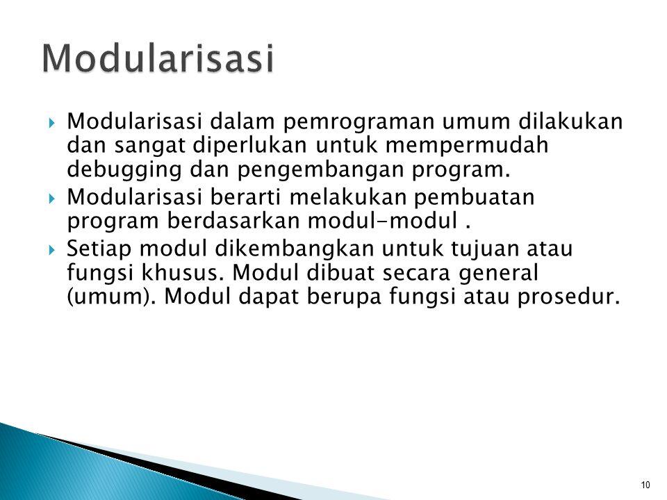 Modularisasi Modularisasi dalam pemrograman umum dilakukan dan sangat diperlukan untuk mempermudah debugging dan pengembangan program.