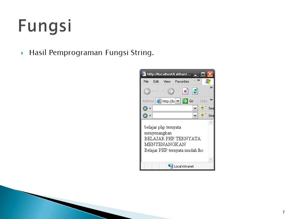 Fungsi Hasil Pemprograman Fungsi String.