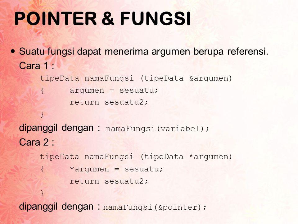 POINTER & FUNGSI Suatu fungsi dapat menerima argumen berupa referensi.