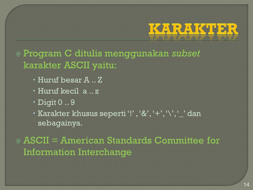 Karakter Program C ditulis menggunakan subset karakter ASCII yaitu: