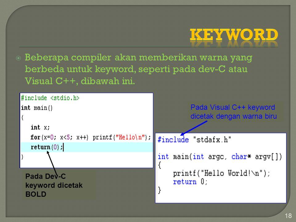 Keyword Beberapa compiler akan memberikan warna yang berbeda untuk keyword, seperti pada dev-C atau Visual C++, dibawah ini.