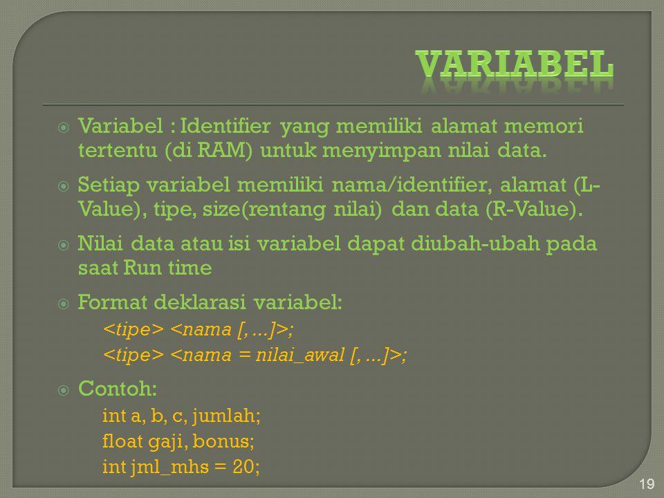 Variabel Variabel : Identifier yang memiliki alamat memori tertentu (di RAM) untuk menyimpan nilai data.