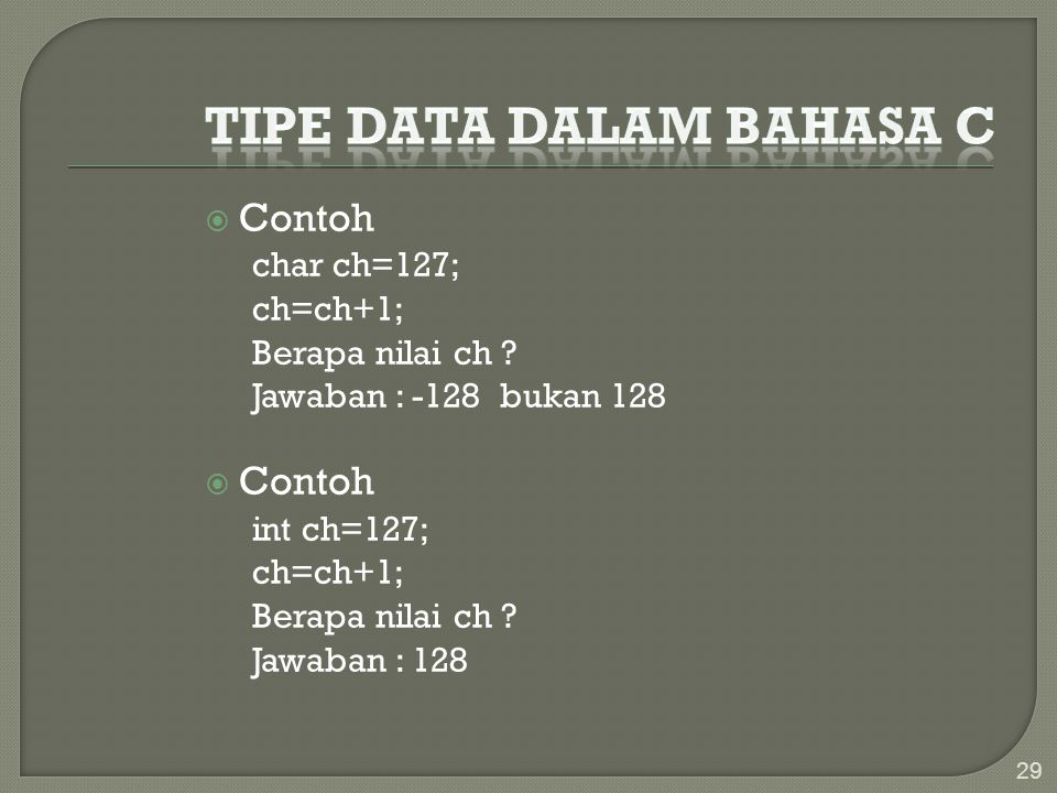 Tipe Data dalam Bahasa C