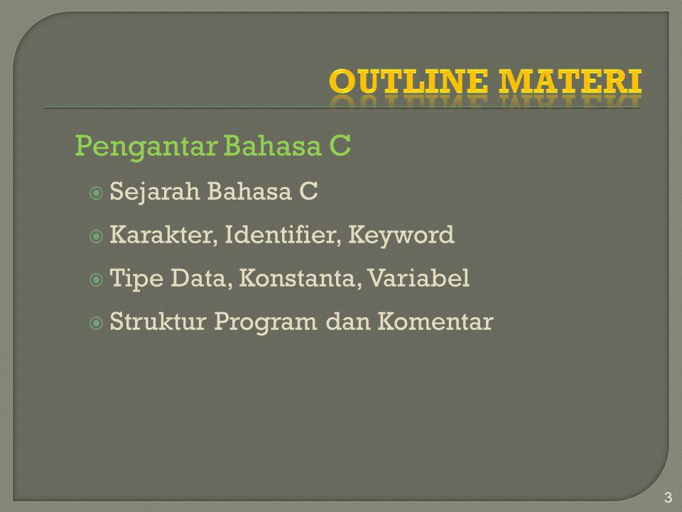 Outline Materi Pengantar Bahasa C Sejarah Bahasa C