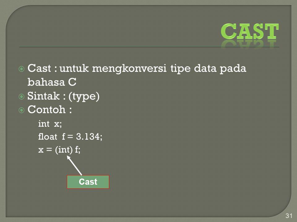 Cast Cast : untuk mengkonversi tipe data pada bahasa C Sintak : (type)