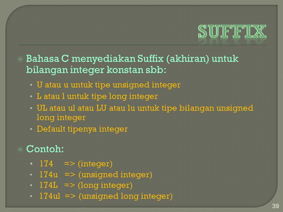 Suffix Bahasa C menyediakan Suffix (akhiran) untuk bilangan integer konstan sbb: U atau u untuk tipe unsigned integer.