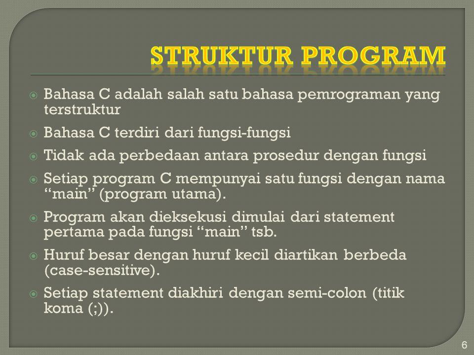 Struktur Program Bahasa C adalah salah satu bahasa pemrograman yang terstruktur. Bahasa C terdiri dari fungsi-fungsi.