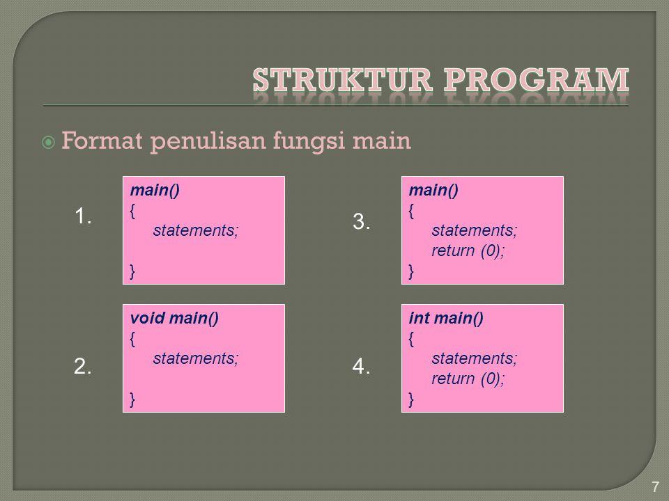 Struktur Program Format penulisan fungsi main 1. 3. 2. 4. main() {