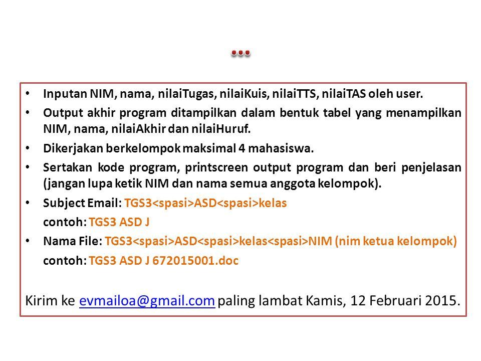 Kirim ke evmailoa@gmail.com paling lambat Kamis, 12 Februari 2015.