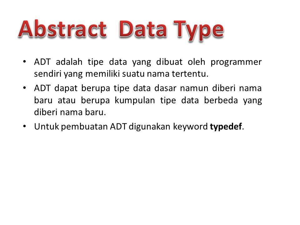 Abstract Data Type ADT adalah tipe data yang dibuat oleh programmer sendiri yang memiliki suatu nama tertentu.