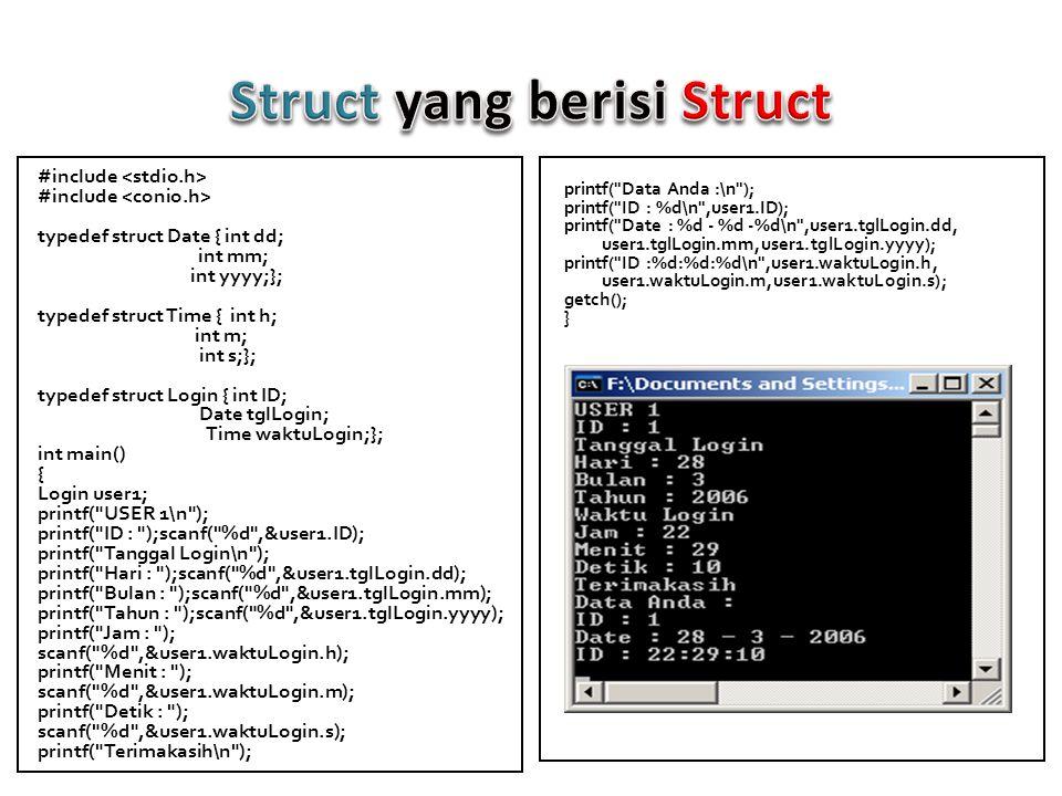 Struct yang berisi Struct