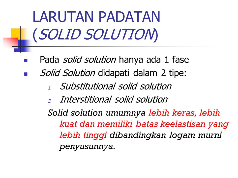 LARUTAN PADATAN (SOLID SOLUTION)