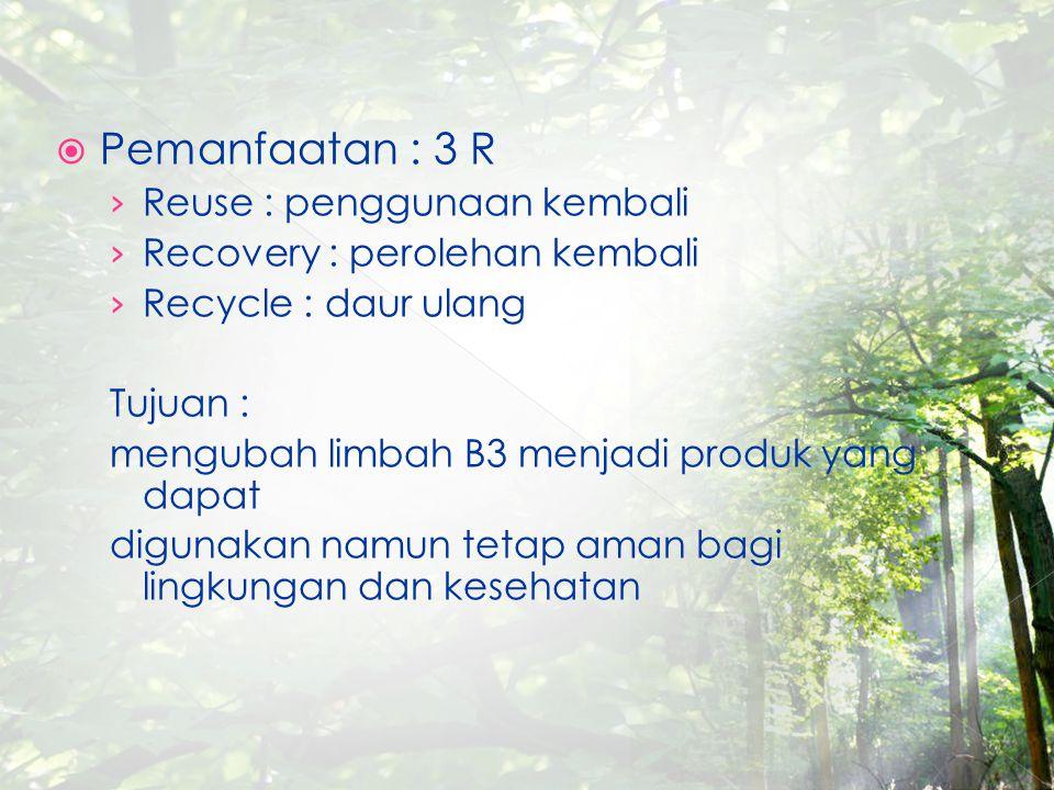 Pemanfaatan : 3 R Reuse : penggunaan kembali