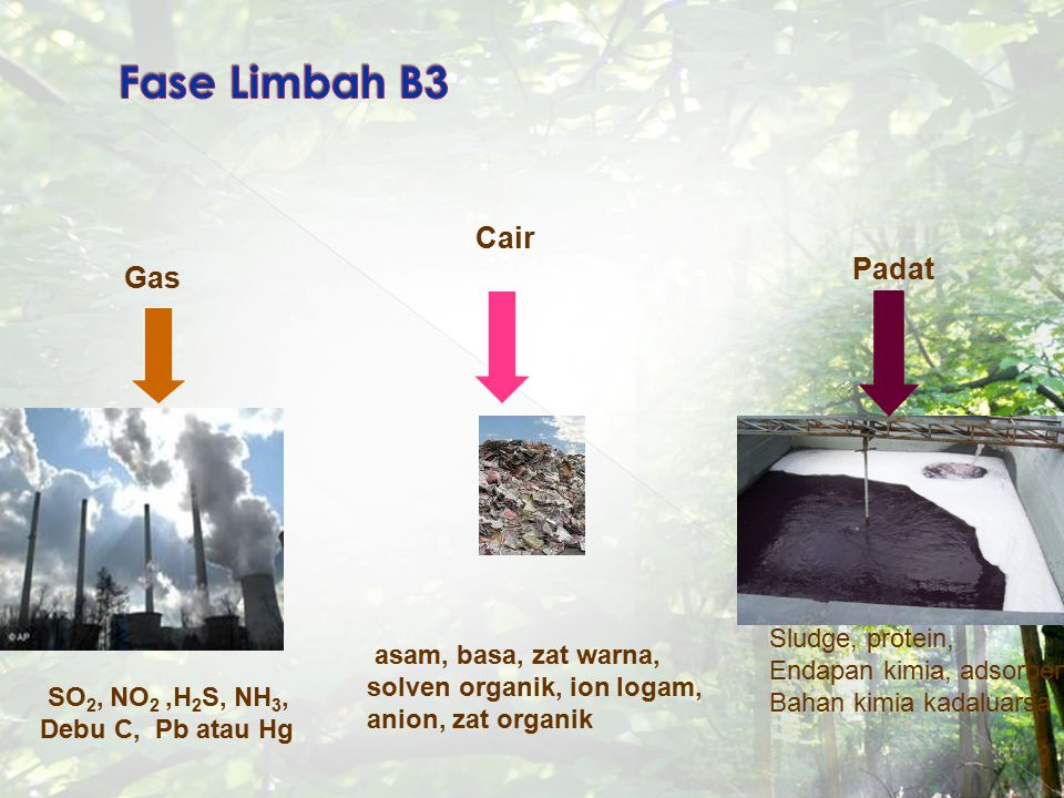 Fase Limbah B3 Cair Padat Gas Sludge, protein,