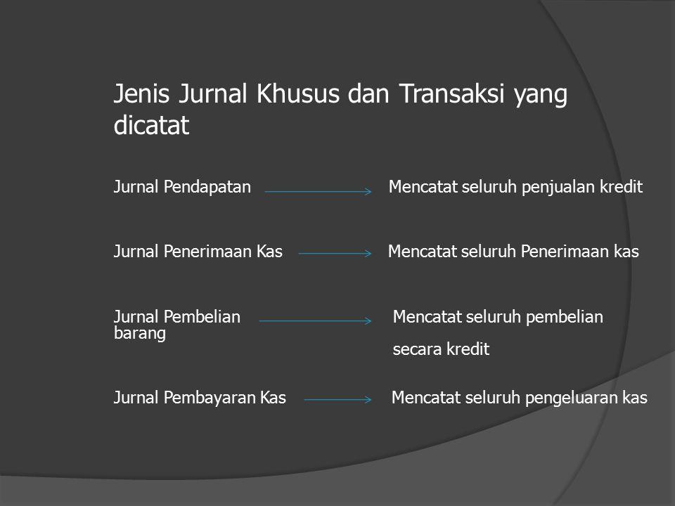 Jenis Jurnal Khusus dan Transaksi yang dicatat